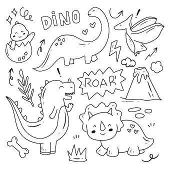 Set di dino doodle collezione di disegni