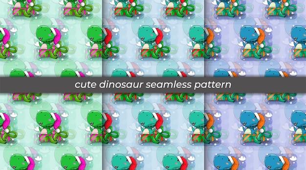 Insieme del cappello da portare del fumetto del dinosauro e nel modello senza cuciture della scatola regalo