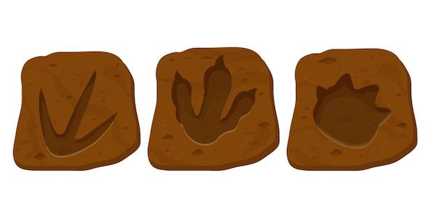 Imposta il sentiero del rettile con impronte fossili di dinosauro in stile cartone animato