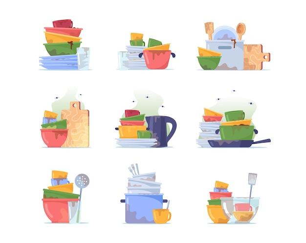 Impostare pila di piatti sporchi, pila di piatti, tazza e bicchiere d'acqua da lavare, utensili antigienici, stoviglie disordinate o stoviglie in ceramica dopo pranzo isolati su sfondo bianco. fumetto illustrazione vettoriale