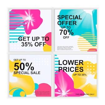 Set di volantini di sconto banner cartoline poster sfondo astratto