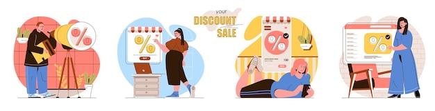 Impostare l'illustrazione del concetto di design piatto di vendita di sconto dei personaggi delle persone