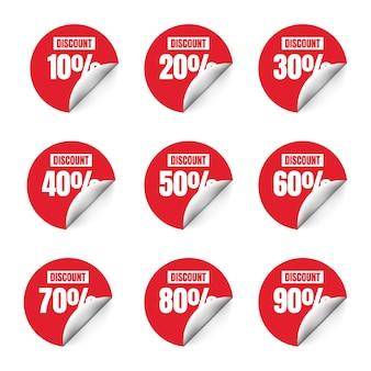 Set di striscioni o poster con segno di sconto segnali di prezzo di offerta speciale