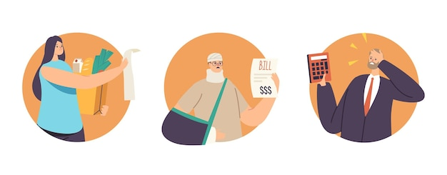 Set di caratteri insoddisfatti scioccati dal concetto di prezzo elevato. le persone sconvolte guardano le bollette sorprese dai costi elevati di farmaci o generi alimentari, attonite, pazze emozioni. fumetto illustrazione vettoriale