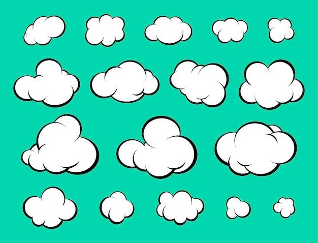 Set di nuvole di diversi cartoni animati. stile comico. illustrazione vettoriale
