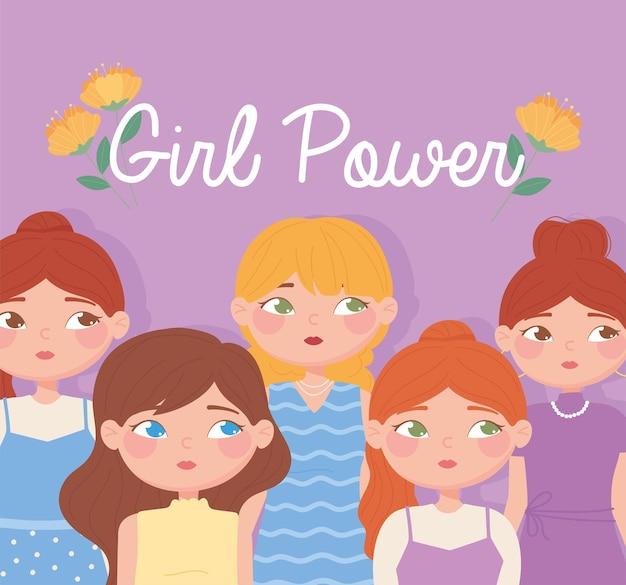 Set di diversi personaggi femminili in sfondo girl power
