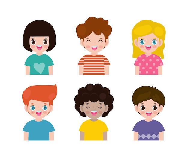 Set di diversi bambini isolati su bianco