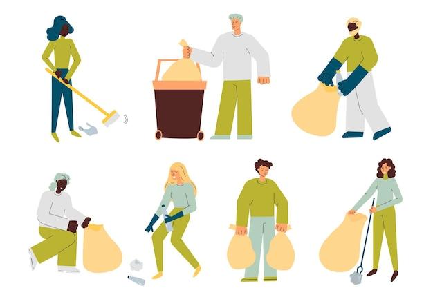 Set di personaggi diversi che puliscono lo schizzo delle strade