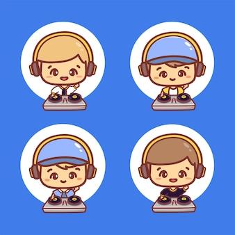 Set di personaggi del ragazzo dj indossano il costume e le cuffie del diavolo di halloween. vettore dei cartoni animati