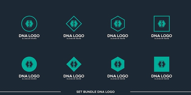 Set dna logo design vector bundle premium