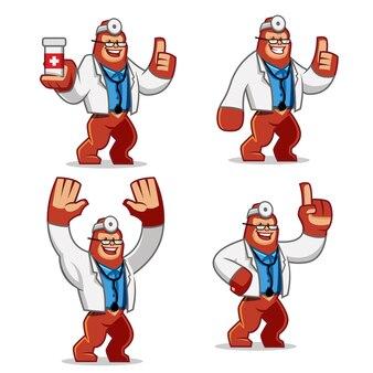 Set di mascotte doctor gorilla