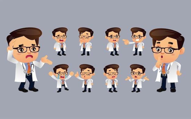 Set di medico con diverse emozioni