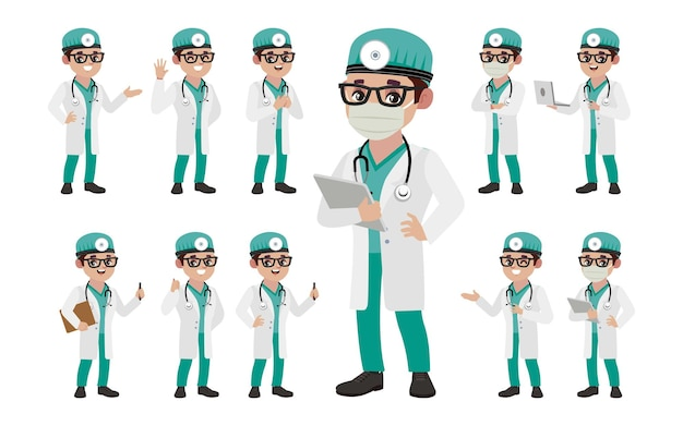 Set di medico con diverse pose.