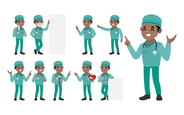 Set di dottore con diverse pose