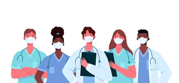Set di caratteri medici in maschera facciale medica bianca