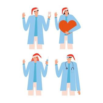 Una serie di medici con il cappello rosso di natale. dentista, otorinolaringoiatra, cardiologo, terapista. collezione di personaggi medici. illustrazione vettoriale in stile piatto