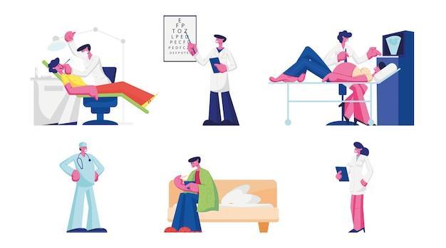 Set di caratteri di medici e pazienti isolati su priorità bassa bianca.