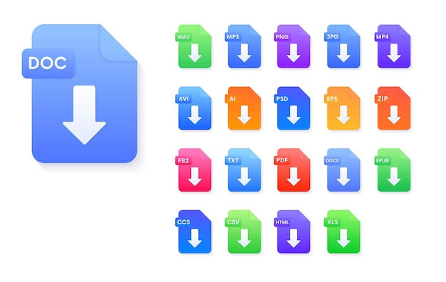 Set di icone di download di formati di file di documenti. pdf,avi,wav,mp3,png,jpg,ai,psd,eps,zip,epub,doc,fb2,ccs,csv,html,xls segni vettoriali.