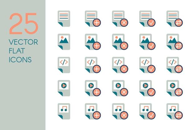 Set di icone piatte di documenti e file