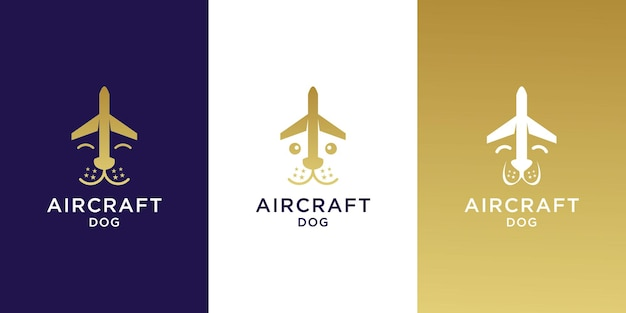 Set di modello di logo dell'aeroplano del cane