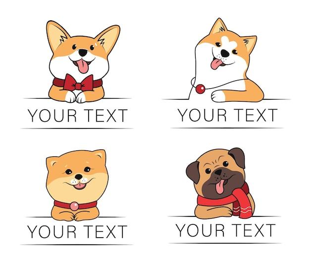 Il set di cani e il tuo testo la collezione di animali divertenti