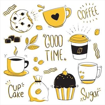 Insieme di elementi di design caffè doodle