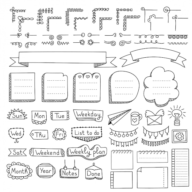 Set di cornici doodle, bordi, angoli, divisori, nastri, giorni feriali ed elementi di design