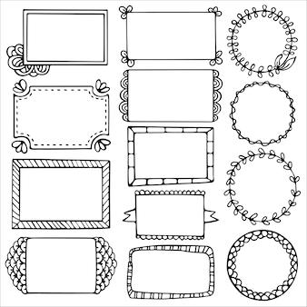 Set di cornici doodle per bullet journal, taccuino, diario e pianificatore isolato su priorità bassa bianca