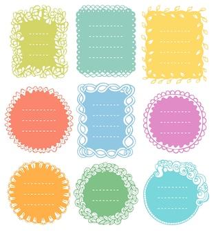 Set di cornici doodle per diario del taccuino bullet journal