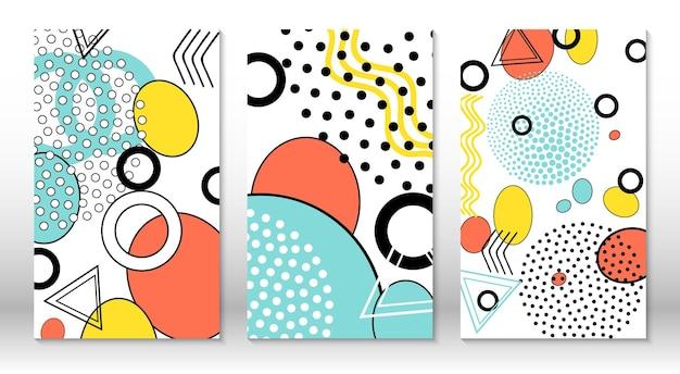 Set di modelli divertenti di doodle. stile hipster anni '80-'90. elementi di menfi. colori fluidi rosa, blu, gialli.