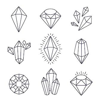 Set di gemme doodle isolato su bianco