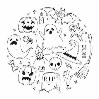 Set di elementi di halloween scarabocchiati a forma di cerchio
