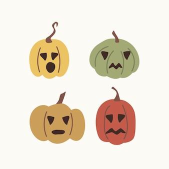 Set di zucche di halloween scarabocchiate