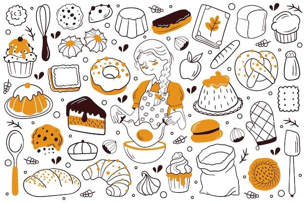 Set di doodle disegnato a mano pane e prodotti da forno. illustrazione vettoriale. croissant, baguette, panino, torta, biscotto, biscotto, strudel, cupcake, muffin, ciambella.