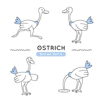 Set di doodle struzzi in varie pose isolate