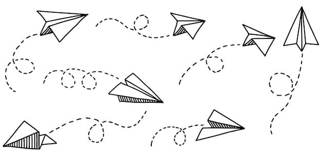 Insieme dell'icona dell'aereo di carta di doodle. aeroplano di carta disegnato a mano. illustrazione vettoriale.