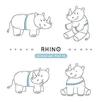 Insieme dei rinoceronti di scarabocchio in varie pose isolato
