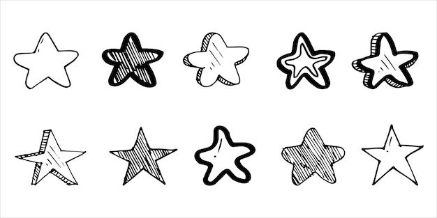 Set di illustrazioni di cartoni animati con stelle scarabocchiate isolate per sfondo, poster, stampa, banner, web e concept design. illustrazione vettoriale.