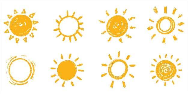 Insieme di doodle sun.design elementi. illustrazione vettoriale.