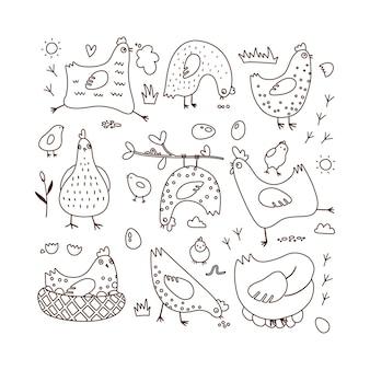 Set di illustrazioni vettoriali doodle con galline e pulcini delineano la pagina da colorare disegnata a mano...