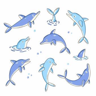 Set di scarabocchi con simpatici personaggi delfini illustrazione vettoriale