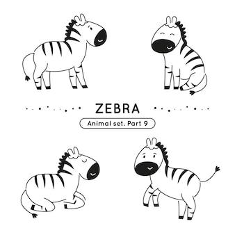 Insieme delle zebre di scarabocchio in varie pose isolato