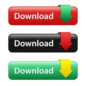 Set di pulsante download isolato su bianco