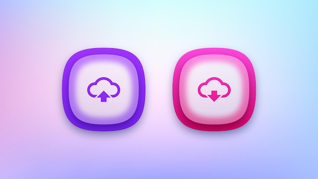 Set di pulsanti di download e upload