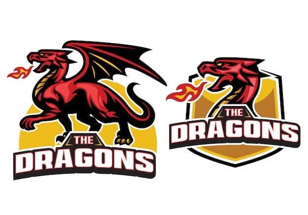 Impostare la mascotte del drago con l'alito di fuoco