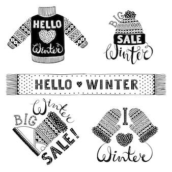 Impostare disegni di abbigliamento e calzature in lana a maglia