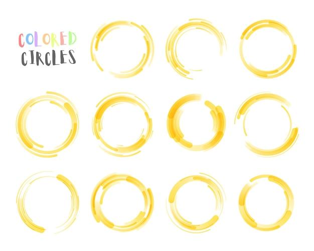 Set di disegnati a mano utilizzando la linea del cerchio doodle disegno schizzo matita o penna graffiti
