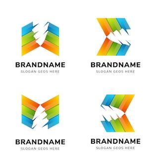 Set di modello di progettazione di logo di perforazione