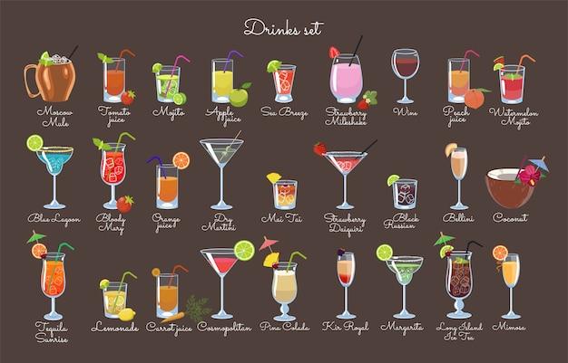 Set di bevande su uno sfondo marrone. grafica vettoriale.