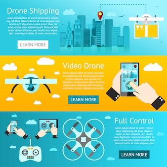 Set di banner di droni - spedizione, sorveglianza, controllo. vettore